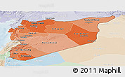 Political Shades Panoramic Map of Syria, lighten