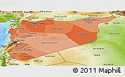 Political Shades Panoramic Map of Syria, physical outside
