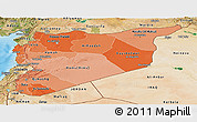 Political Shades Panoramic Map of Syria, satellite outside, bathymetry sea