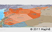 Political Shades Panoramic Map of Syria, semi-desaturated, land only