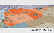 Political Shades Panoramic Map of Syria, semi-desaturated