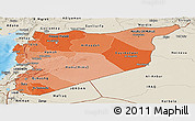 Political Shades Panoramic Map of Syria, shaded relief outside, bathymetry sea