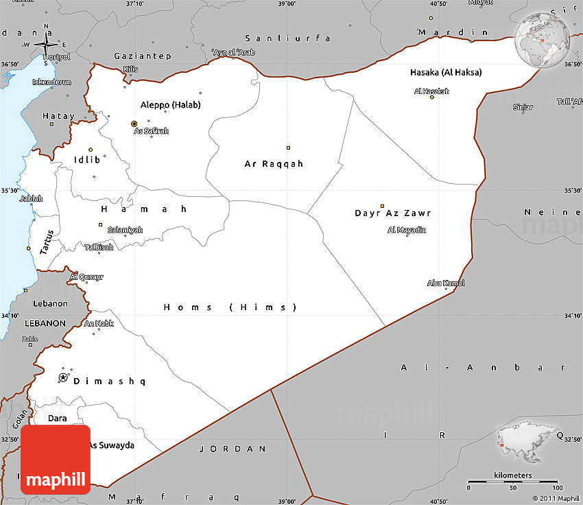 Gray Simple Map Of Syria - Map of syria