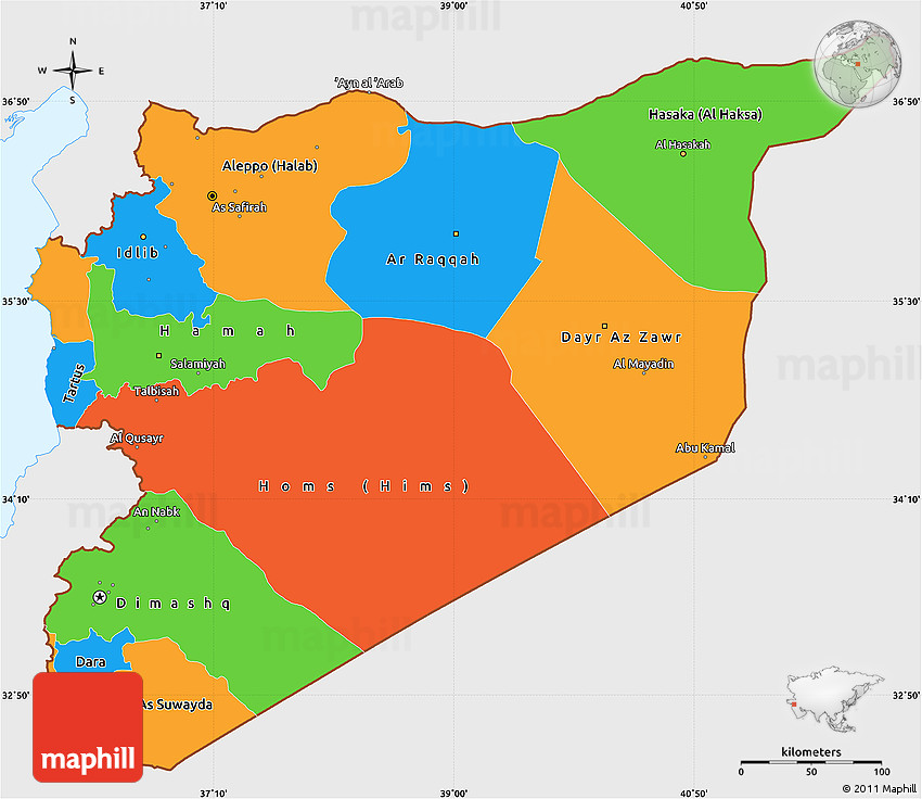 Political Simple Map of Syria single color outside
