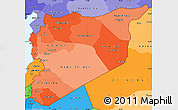 Political Shades Simple Map of Syria