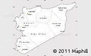 Silver Style Simple Map of Syria, cropped outside