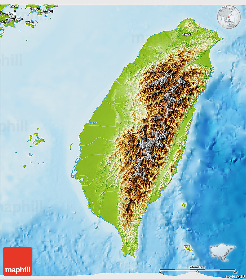 physical 3d map of taiwan