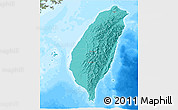 Political Shades 3D Map of Taiwan, semi-desaturated, land only