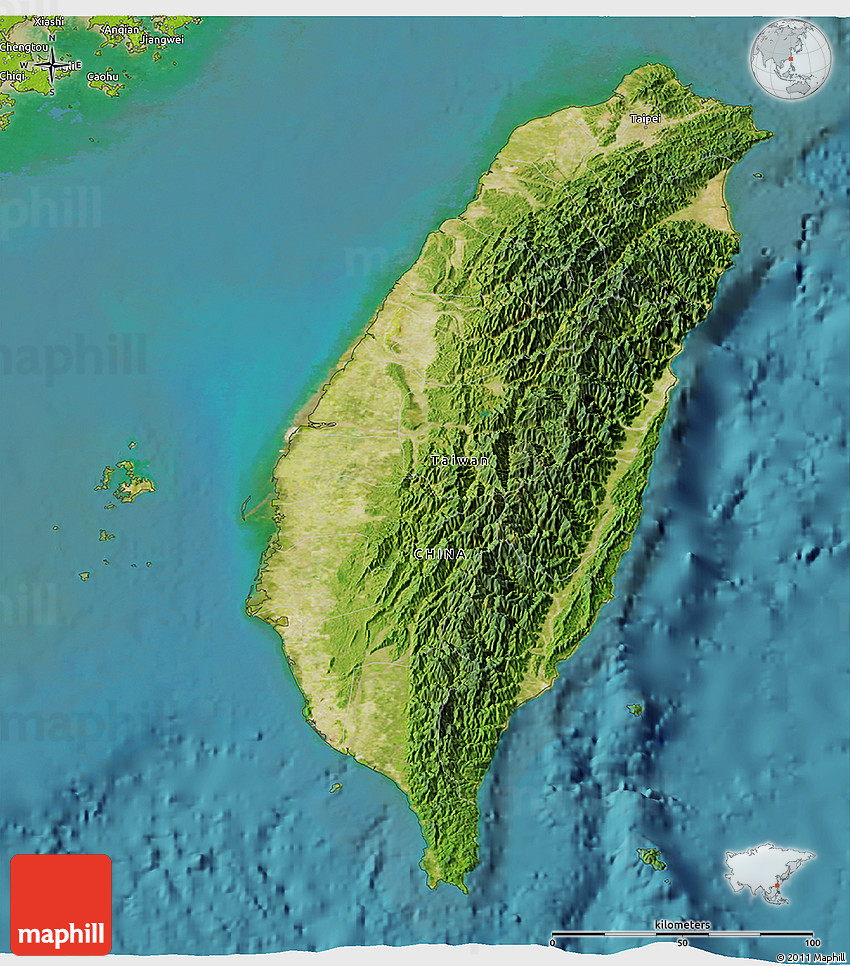 Satellite D Map Of Taiwan Physical Outside Satellite Sea - Map of taiwan