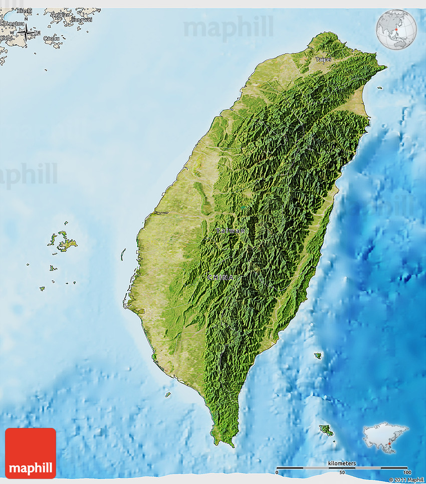 Satellite 3D Map of Taiwan shaded relief outside