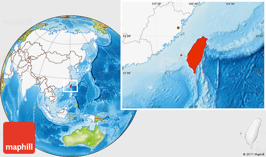 Map Of Asia Taiwan.Physical Location Map Of Taiwan Highlighted Continent