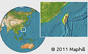 Physical Location Map of Taiwan, satellite outside