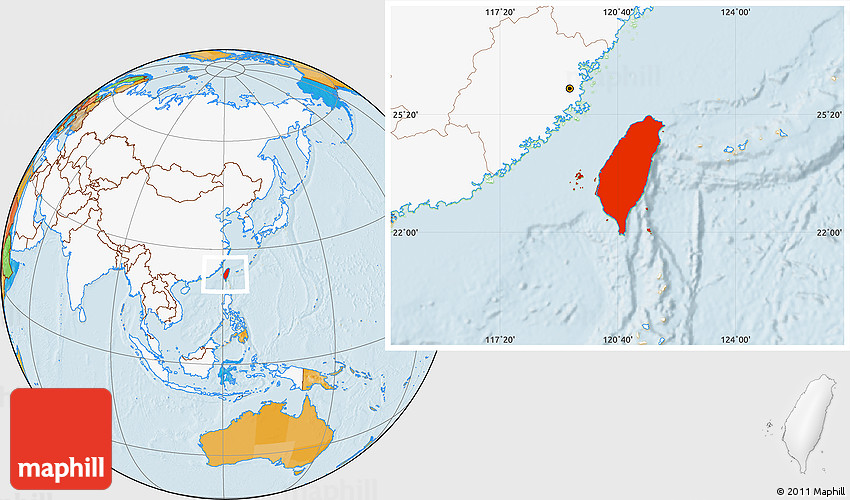Political Location Map of Taiwan highlighted continent