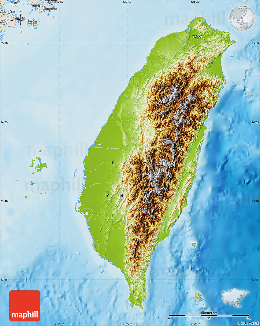 Physical map of taiwan shaded relief outside gumiabroncs Choice Image