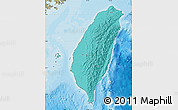 Political Shades Map of Taiwan, satellite outside, bathymetry sea