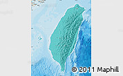 Political Shades Map of Taiwan, shaded relief outside, bathymetry sea