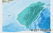 Political Shades Panoramic Map of Taiwan, satellite outside, bathymetry sea