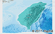 Political Shades Panoramic Map of Taiwan, shaded relief outside, bathymetry sea
