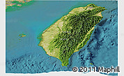 Satellite Panoramic Map of Taiwan