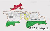 Flag 3D Map of Tajikistan