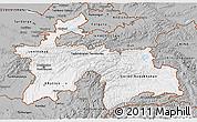 Gray 3D Map of Tajikistan