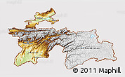 Physical 3D Map of Tajikistan, cropped outside