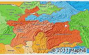 Political Shades 3D Map of Tajikistan