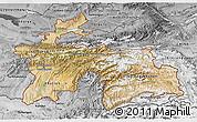 Satellite 3D Map of Tajikistan, desaturated