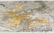 Satellite 3D Map of Tajikistan, semi-desaturated