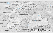 Silver Style 3D Map of Tajikistan