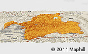 Political Panoramic Map of Gorno-Badakhshan, shaded relief outside