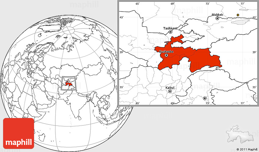 Blank Location Map of Tajikistan