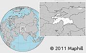 Blank Location Map of Tajikistan, gray outside