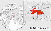 Blank Location Map of Tajikistan, highlighted continent