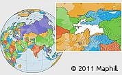 Blank Location Map of Tajikistan, political outside