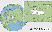 Blank Location Map of Tajikistan, savanna style outside