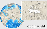 Blank Location Map of Tajikistan, shaded relief outside