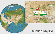 Flag Location Map of Tajikistan, satellite outside