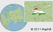 Flag Location Map of Tajikistan, savanna style outside