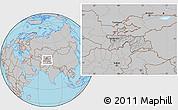 Gray Location Map of Tajikistan, hill shading inside