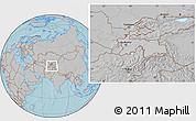 Gray Location Map of Tajikistan, hill shading outside