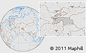 Gray Location Map of Tajikistan, lighten, desaturated