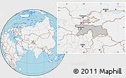 Gray Location Map of Tajikistan, lighten, land only