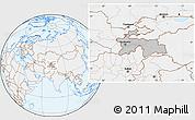Gray Location Map of Tajikistan, lighten