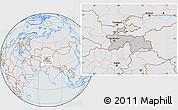 Gray Location Map of Tajikistan, lighten, semi-desaturated