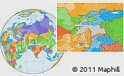 Gray Location Map of Tajikistan, political outside