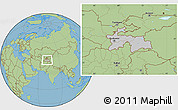 Gray Location Map of Tajikistan, savanna style outside