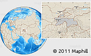 Gray Location Map of Tajikistan, shaded relief outside