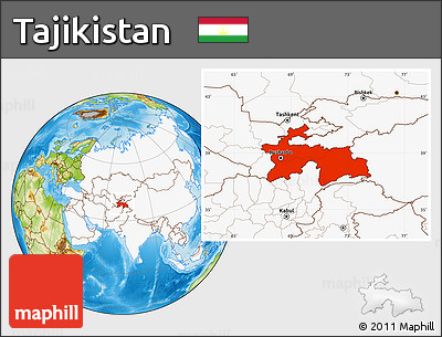 Physical Location Map of Tajikistan, highlighted continent