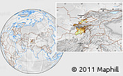 Physical Location Map of Tajikistan, lighten, desaturated